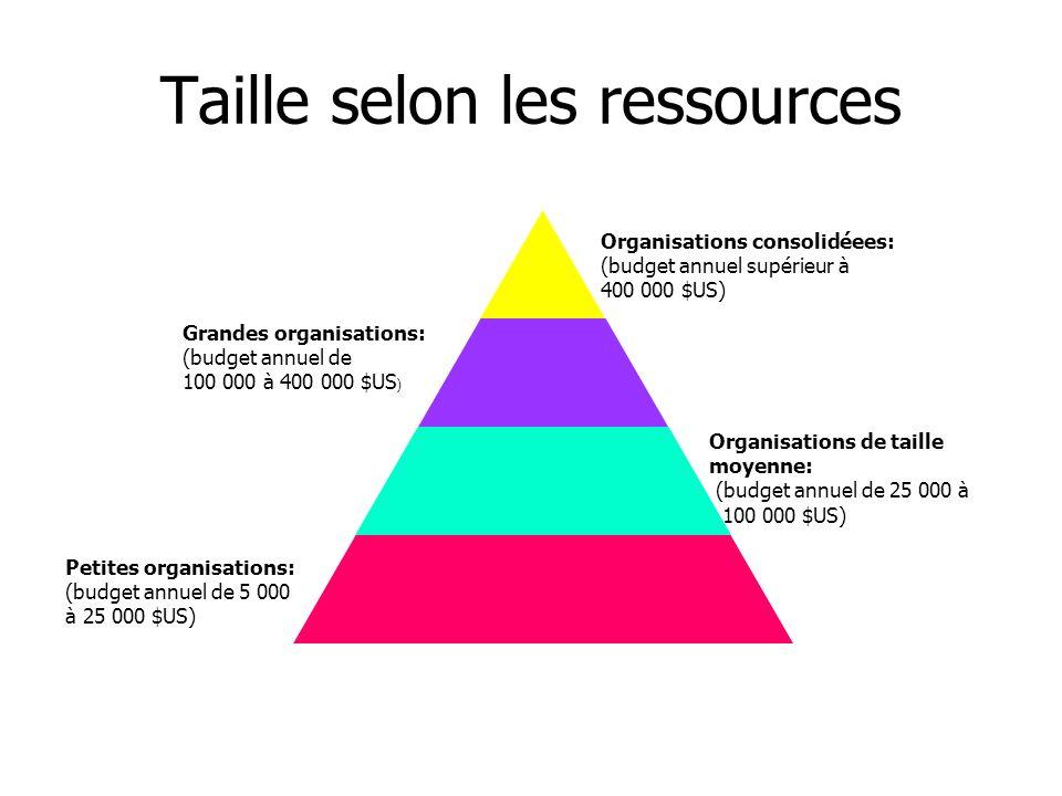 Petites organisations: (budget annuel de 5 000 à 25 000 $US) Organisations de taille moyenne: (budget annuel de 25 000 à 100 000 $US) Grandes organisa