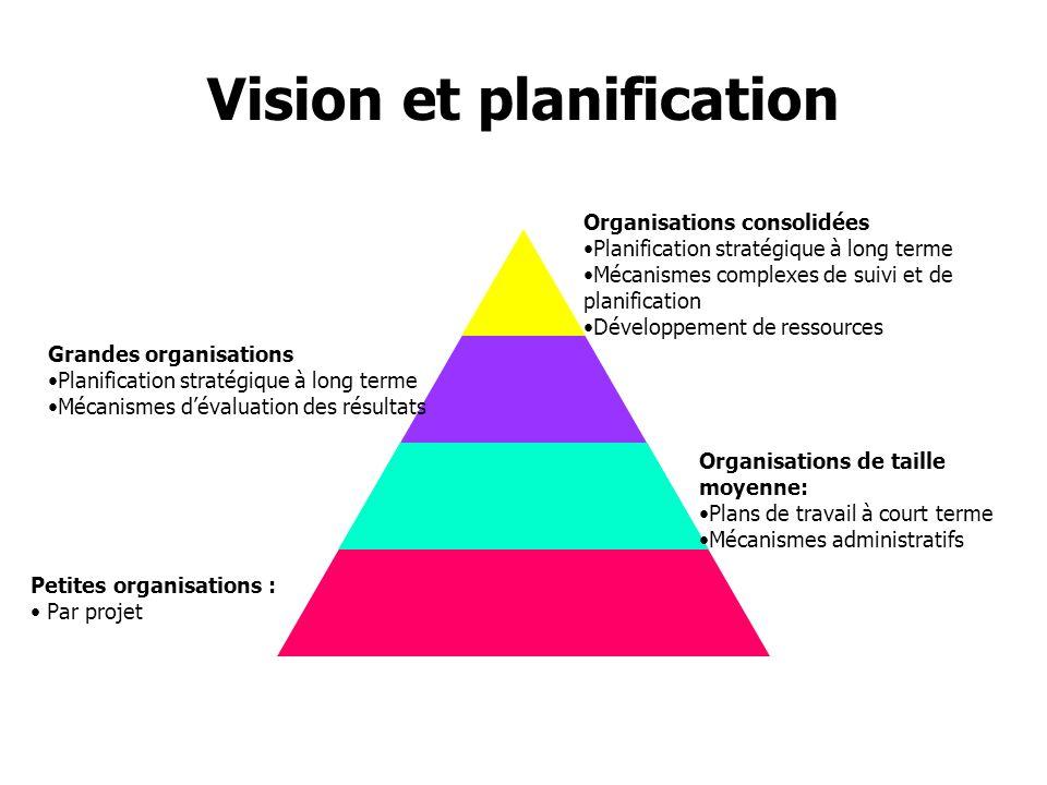 Vision et planification Organisations consolidées Planification stratégique à long terme Mécanismes complexes de suivi et de planification Développeme