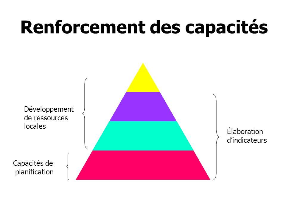 Renforcement des capacités Capacités de planification Élaboration dindicateurs Développement de ressources locales