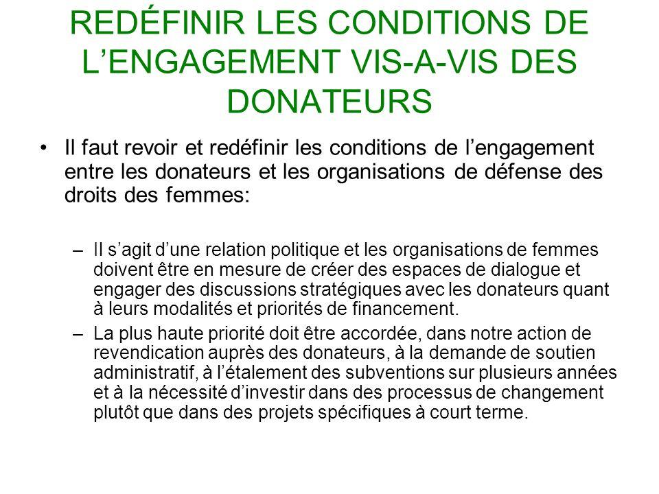 REDÉFINIR LES CONDITIONS DE LENGAGEMENT VIS-A-VIS DES DONATEURS Il faut revoir et redéfinir les conditions de lengagement entre les donateurs et les o