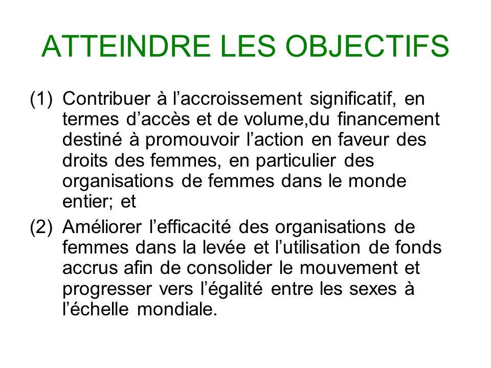ATTEINDRE LES OBJECTIFS (1)Contribuer à laccroissement significatif, en termes daccès et de volume,du financement destiné à promouvoir laction en faveur des droits des femmes, en particulier des organisations de femmes dans le monde entier; et (2)Améliorer lefficacité des organisations de femmes dans la levée et lutilisation de fonds accrus afin de consolider le mouvement et progresser vers légalité entre les sexes à léchelle mondiale.