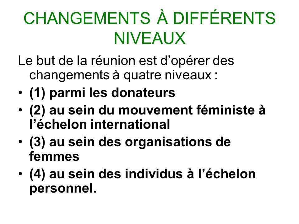 CHANGEMENTS À DIFFÉRENTS NIVEAUX Le but de la réunion est dopérer des changements à quatre niveaux : (1) parmi les donateurs (2) au sein du mouvement féministe à léchelon international (3) au sein des organisations de femmes (4) au sein des individus à léchelon personnel.