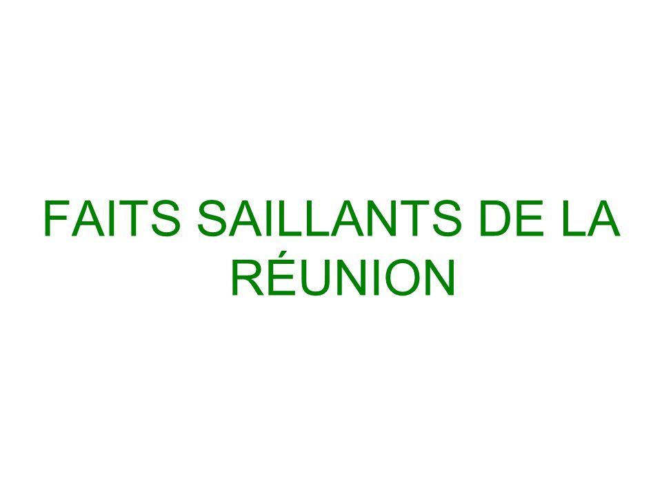 FAITS SAILLANTS DE LA RÉUNION