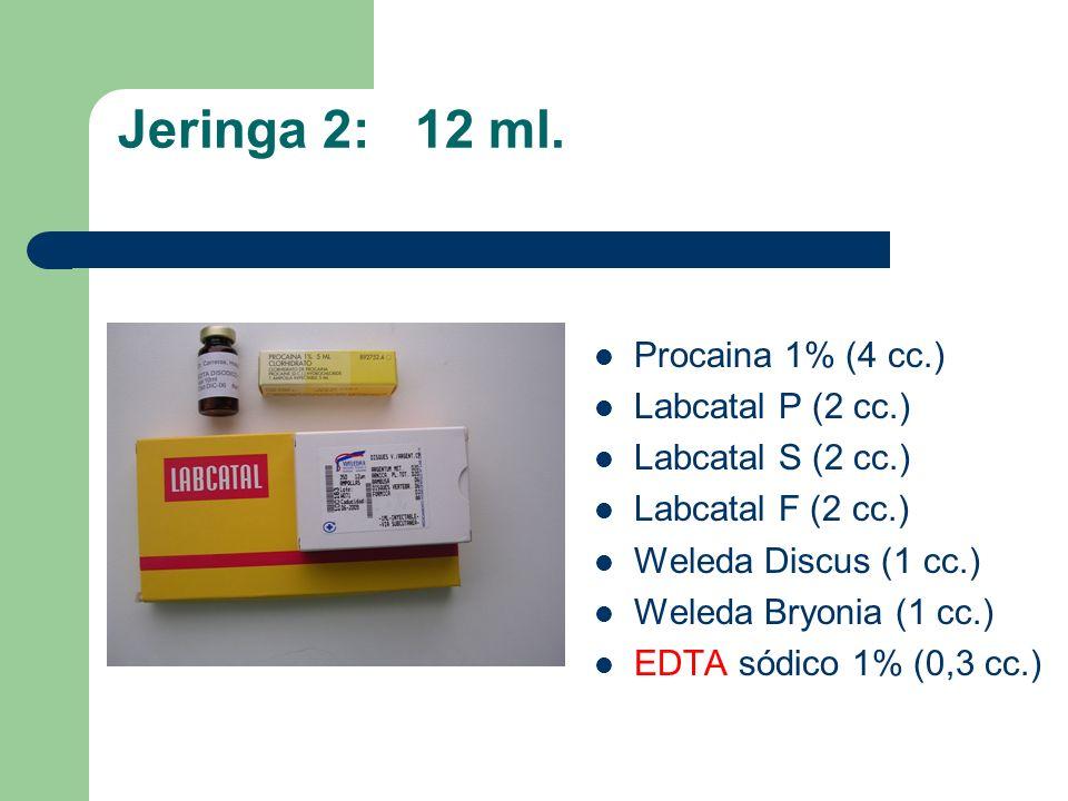 Jeringa 2: 12 ml. Procaina 1% (4 cc.) Labcatal P (2 cc.) Labcatal S (2 cc.) Labcatal F (2 cc.) Weleda Discus (1 cc.) Weleda Bryonia (1 cc.) EDTA sódic