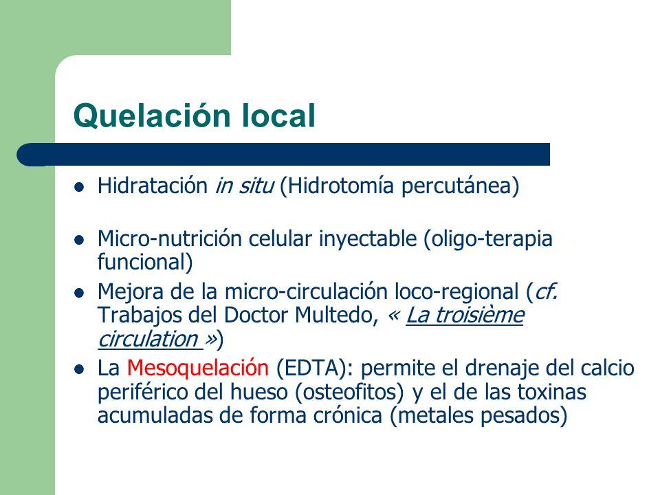 Quelación local Hidratación in situ (Hidrotomía percutánea) Micro-nutrición celular inyectable (oligo-terapia funcional) Mejora de la micro-circulació