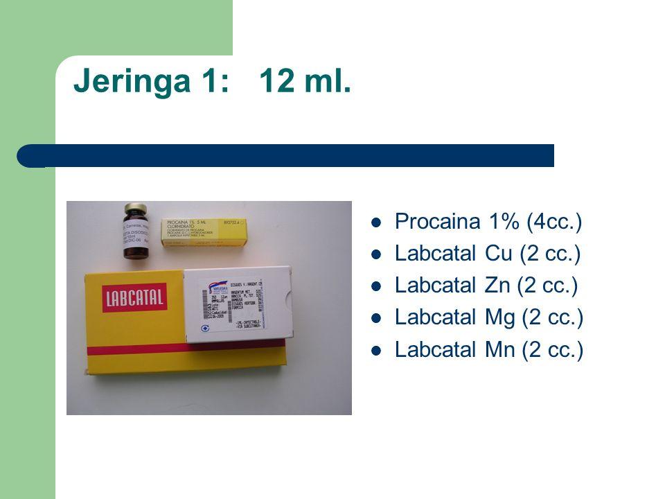 Jeringa 1: 12 ml. Procaina 1% (4cc.) Labcatal Cu (2 cc.) Labcatal Zn (2 cc.) Labcatal Mg (2 cc.) Labcatal Mn (2 cc.)