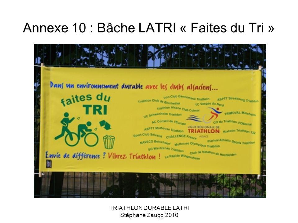 TRIATHLON DURABLE LATRI Stéphane Zaugg 2010 Annexe 10 : Bâche LATRI « Faites du Tri »