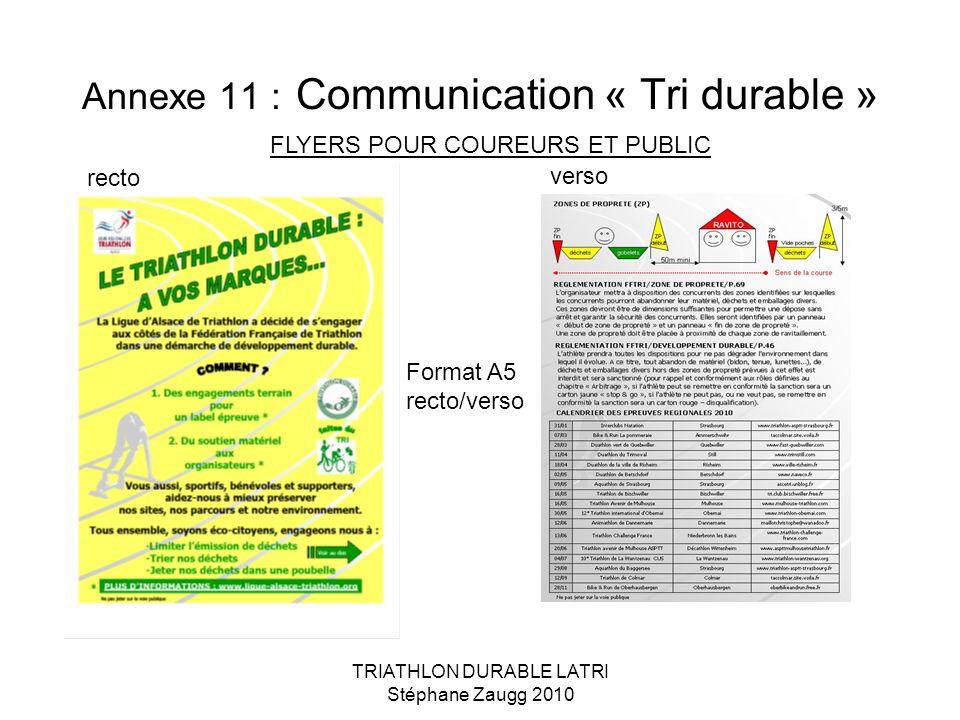 TRIATHLON DURABLE LATRI Stéphane Zaugg 2010 Annexe 11 : Communication « Tri durable » FLYERS POUR COUREURS ET PUBLIC Format A5 recto/verso recto verso