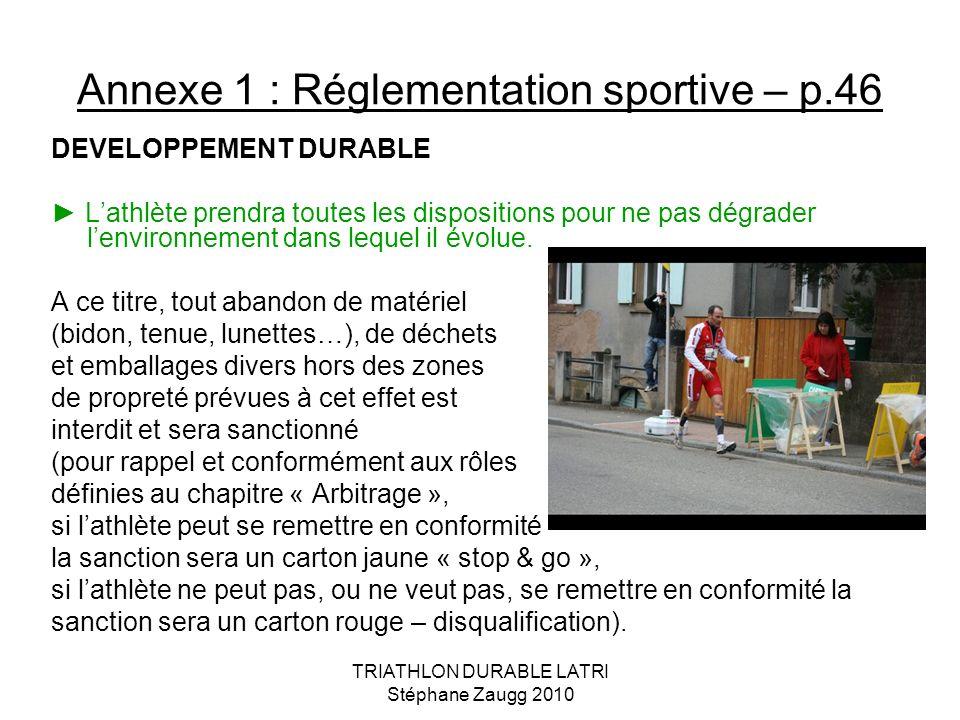 TRIATHLON DURABLE LATRI Stéphane Zaugg 2010 Annexe 1 : Réglementation sportive – p.46 DEVELOPPEMENT DURABLE Lathlète prendra toutes les dispositions p