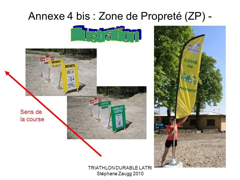 TRIATHLON DURABLE LATRI Stéphane Zaugg 2010 Annexe 4 bis : Zone de Propreté (ZP) - Sens de la course