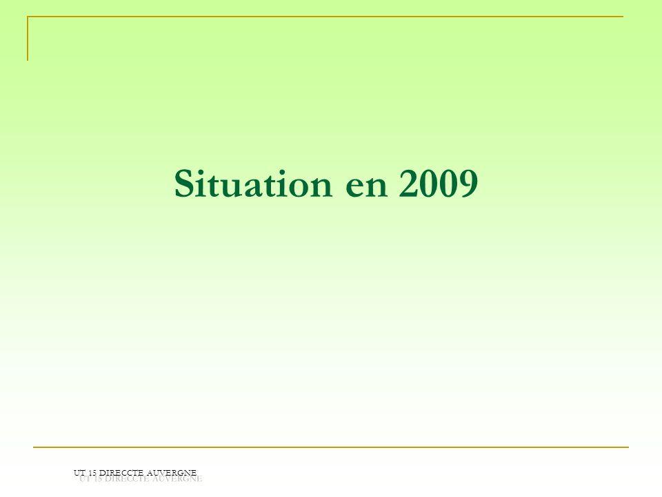 Situation en 2009 UT 15 DIRECCTE AUVERGNE