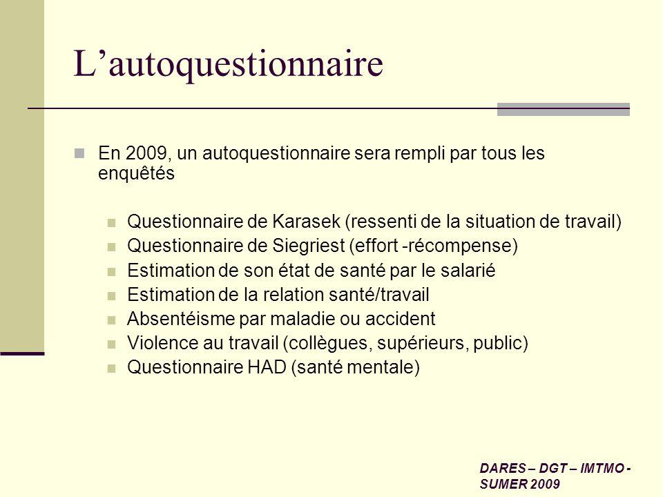 Lautoquestionnaire En 2009, un autoquestionnaire sera rempli par tous les enquêtés Questionnaire de Karasek (ressenti de la situation de travail) Ques