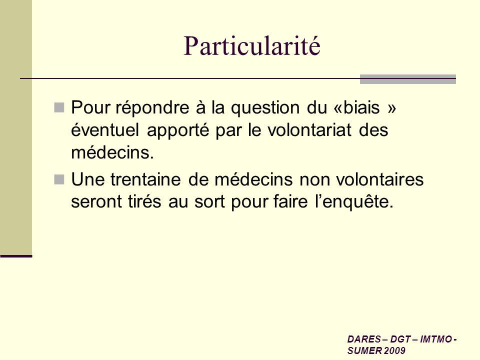 Particularité Pour répondre à la question du «biais » éventuel apporté par le volontariat des médecins. Une trentaine de médecins non volontaires sero