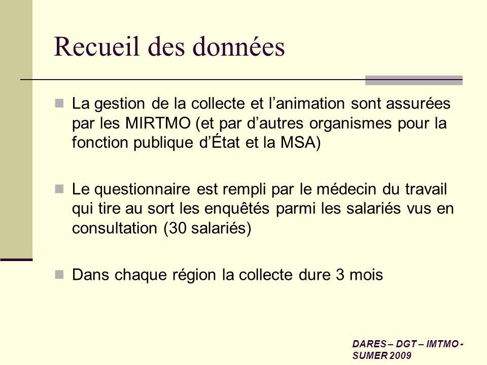 Recueil des données La gestion de la collecte et lanimation sont assurées par les MIRTMO (et par dautres organismes pour la fonction publique dÉtat et