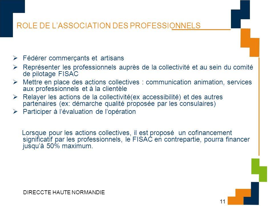 DIRECCTE HAUTE NORMANDIE 11 ROLE DE LASSOCIATION DES PROFESSIONNELS Fédérer commerçants et artisans Représenter les professionnels auprès de la collec