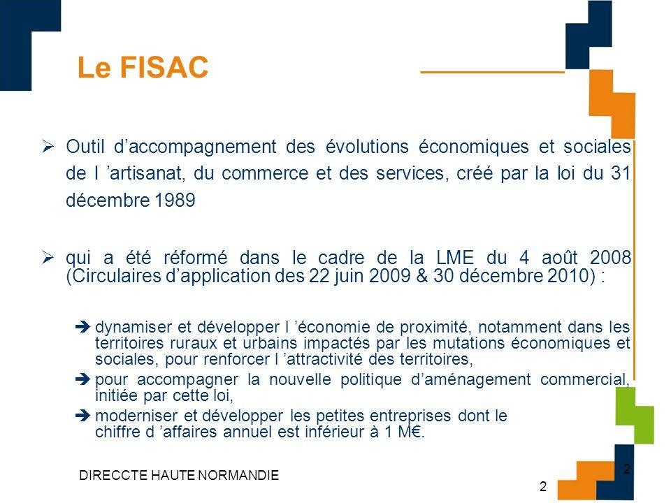 3 DIRECCTE HAUTE NORMANDIE 3 FINANCEMENT Depuis la loi de finances pour 2003, le montant des dotations ouvertes au titre du FISAC est affecté au budget général de lÉtat : 100 M pour l année 2010.