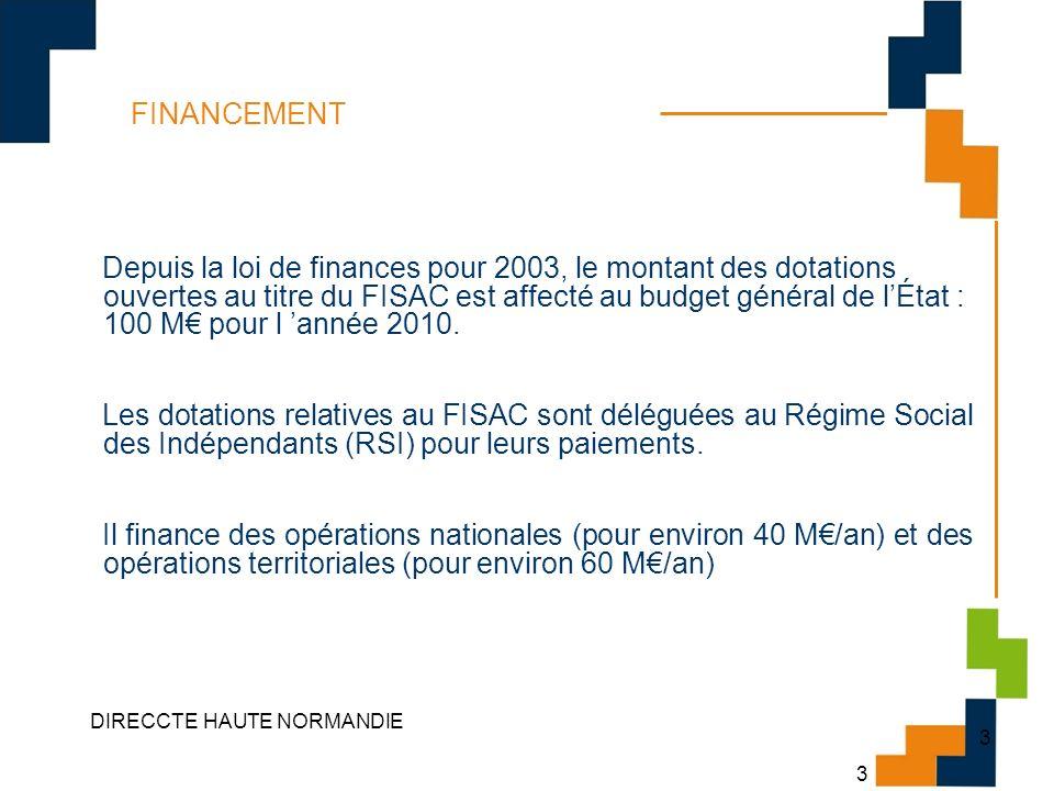 3 DIRECCTE HAUTE NORMANDIE 3 FINANCEMENT Depuis la loi de finances pour 2003, le montant des dotations ouvertes au titre du FISAC est affecté au budge