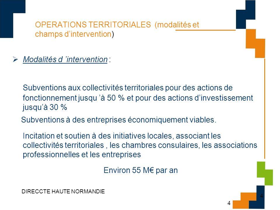 4 DIRECCTE HAUTE NORMANDIE 4 OPERATIONS TERRITORIALES (modalités et champs dintervention) Modalités d intervention : Subventions aux collectivités ter