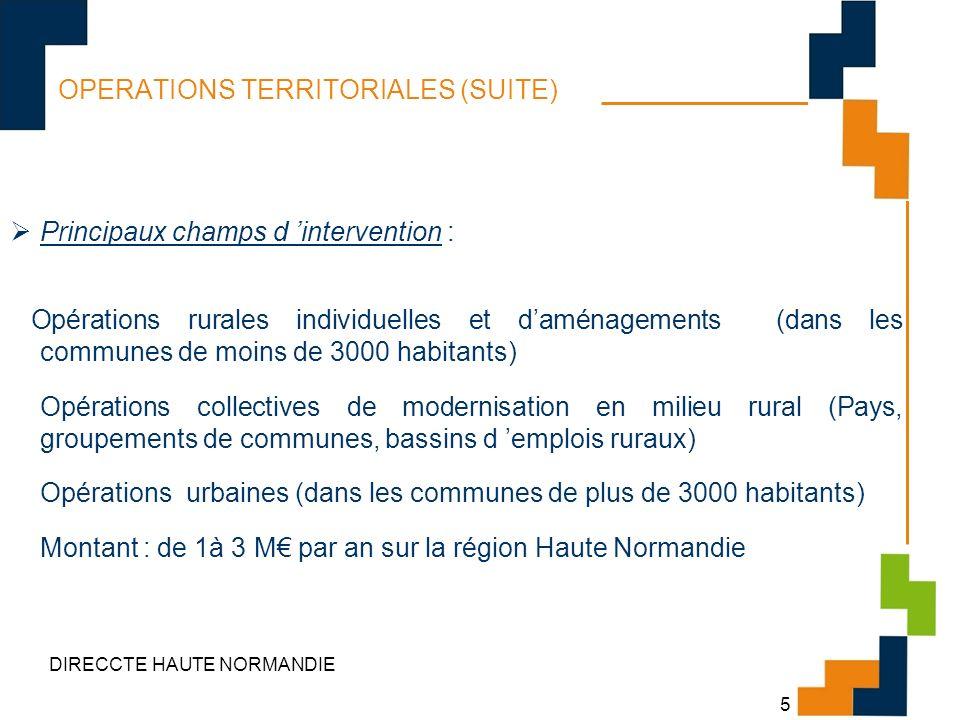 DIRECCTE HAUTE NORMANDIE 5 OPERATIONS TERRITORIALES (SUITE) Principaux champs d intervention : Opérations rurales individuelles et daménagements (dans
