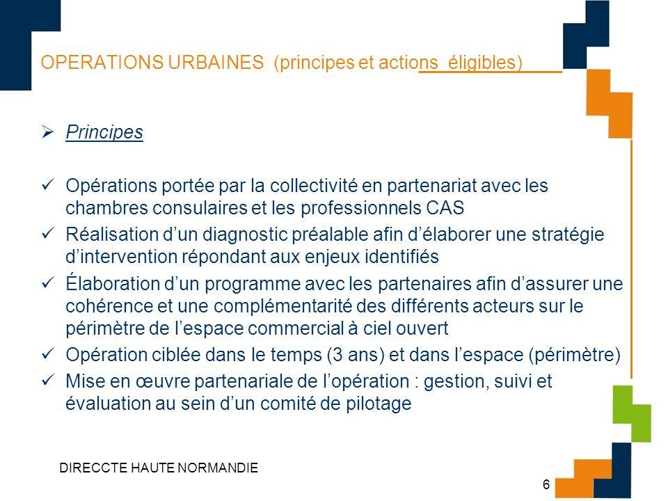 DIRECCTE HAUTE NORMANDIE 6 OPERATIONS URBAINES (principes et actions éligibles) Principes Opérations portée par la collectivité en partenariat avec le