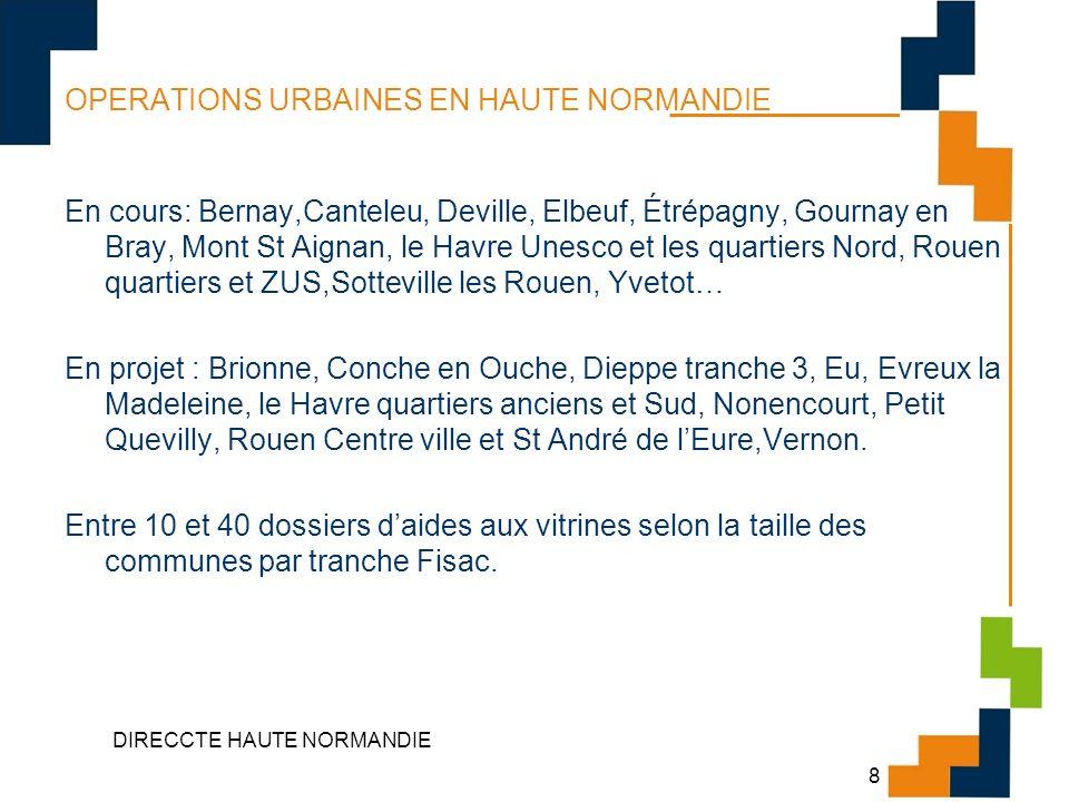 DIRECCTE HAUTE NORMANDIE 8 OPERATIONS URBAINES EN HAUTE NORMANDIE En cours: Bernay,Canteleu, Deville, Elbeuf, Étrépagny, Gournay en Bray, Mont St Aign