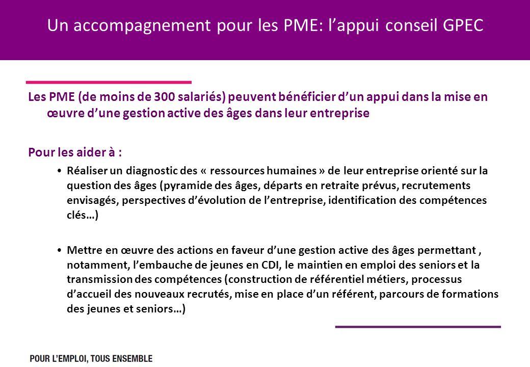 Un accompagnement pour les PME: lappui conseil GPEC Les PME (de moins de 300 salariés) peuvent bénéficier dun appui dans la mise en œuvre dune gestion