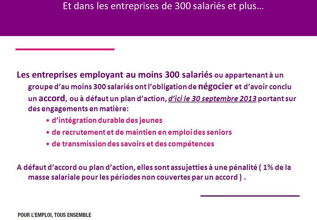 Et dans les entreprises de 300 salariés et plus… Les entreprises employant au moins 300 salariés ou appartenant à un groupe dau moins 300 salariés ont