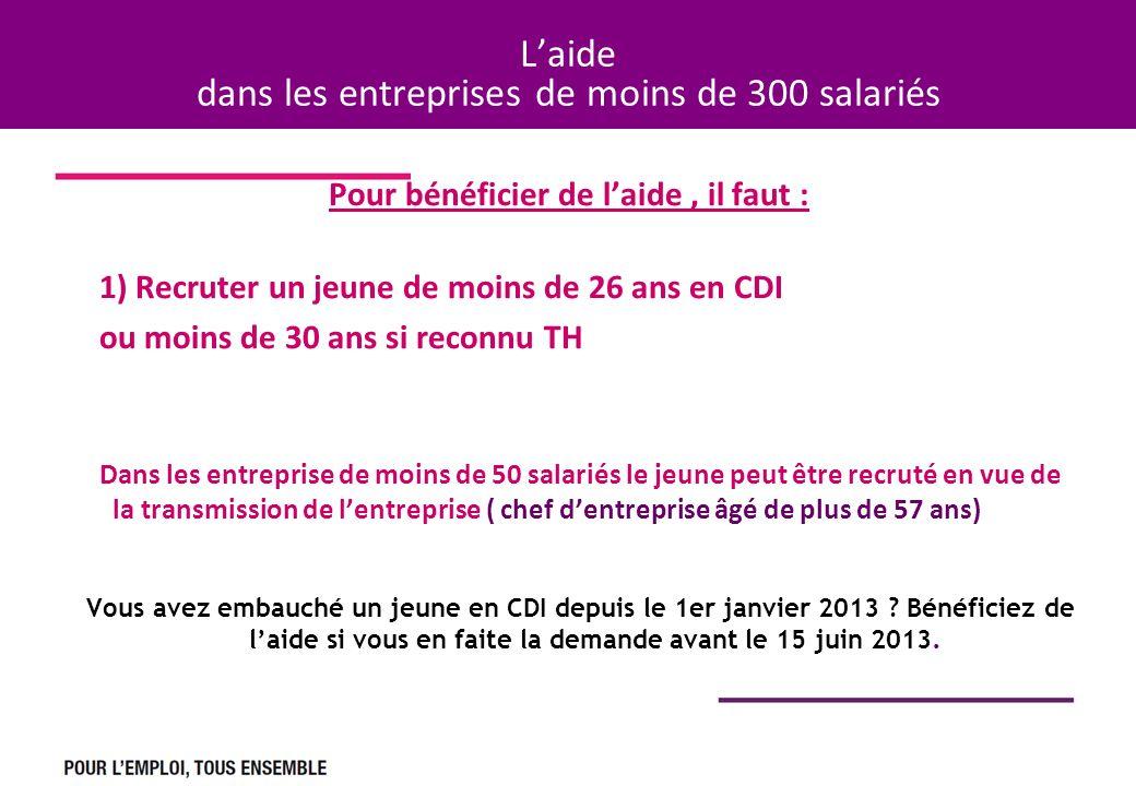 Laide dans les entreprises de moins de 300 salariés Pour bénéficier de laide, il faut : 1) Recruter un jeune de moins de 26 ans en CDI ou moins de 30