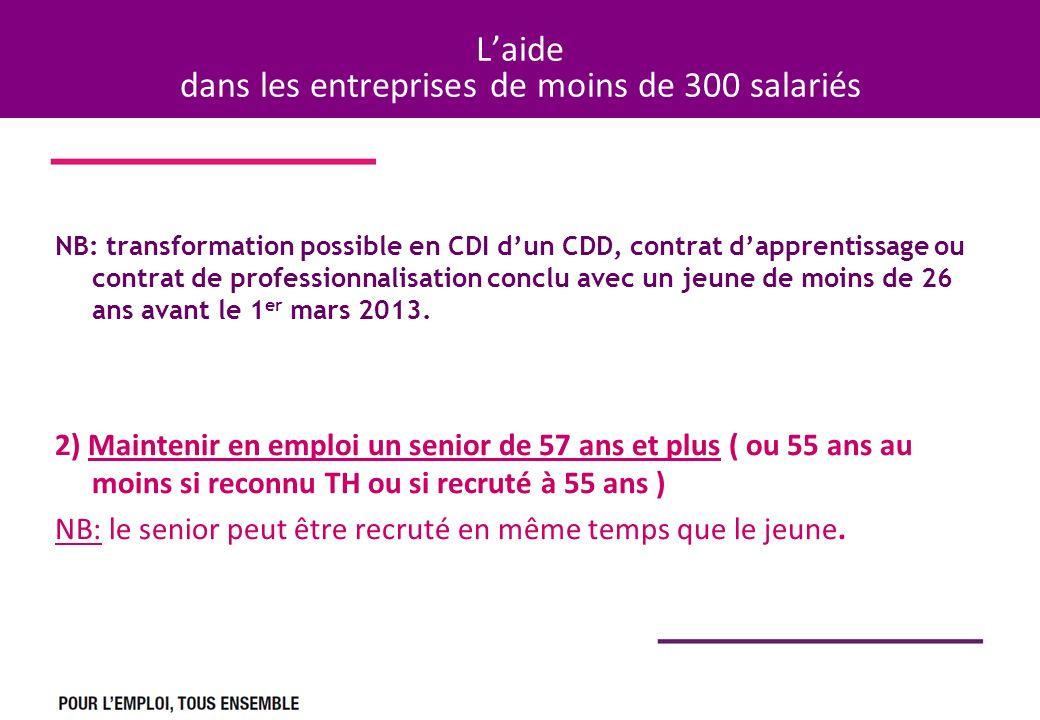 Laide dans les entreprises de moins de 300 salariés NB: transformation possible en CDI dun CDD, contrat dapprentissage ou contrat de professionnalisation conclu avec un jeune de moins de 26 ans avant le 1 er mars 2013.