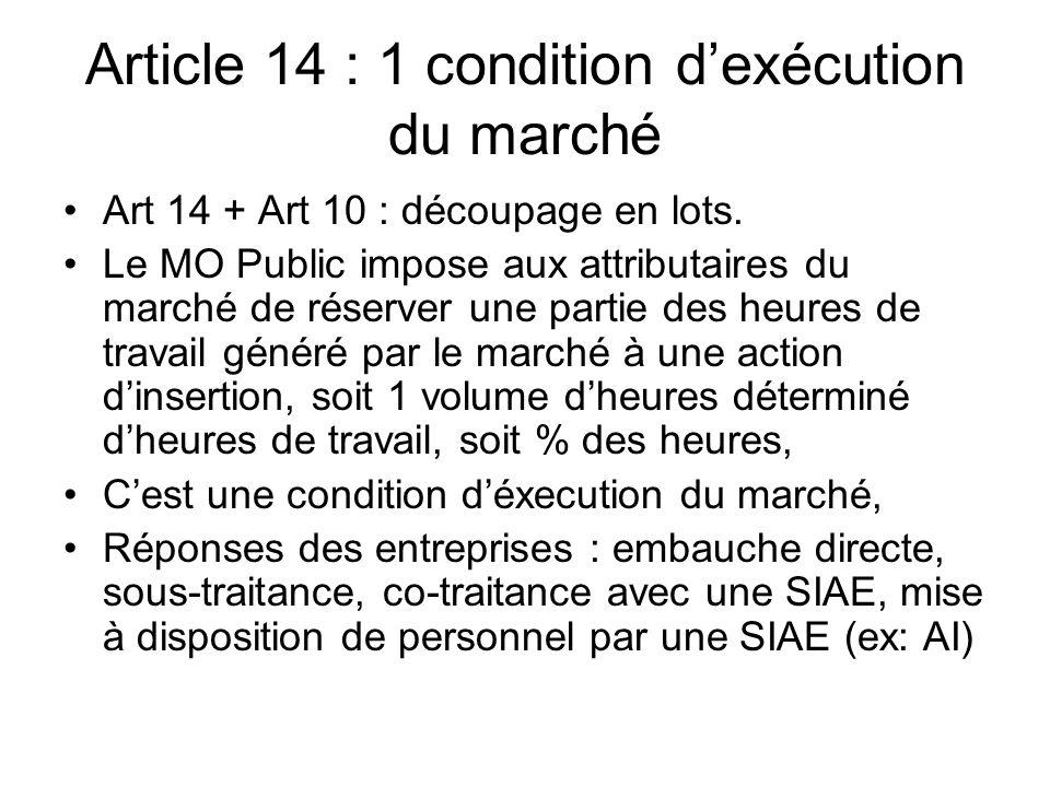 Article 14 : 1 condition dexécution du marché Art 14 + Art 10 : découpage en lots. Le MO Public impose aux attributaires du marché de réserver une par