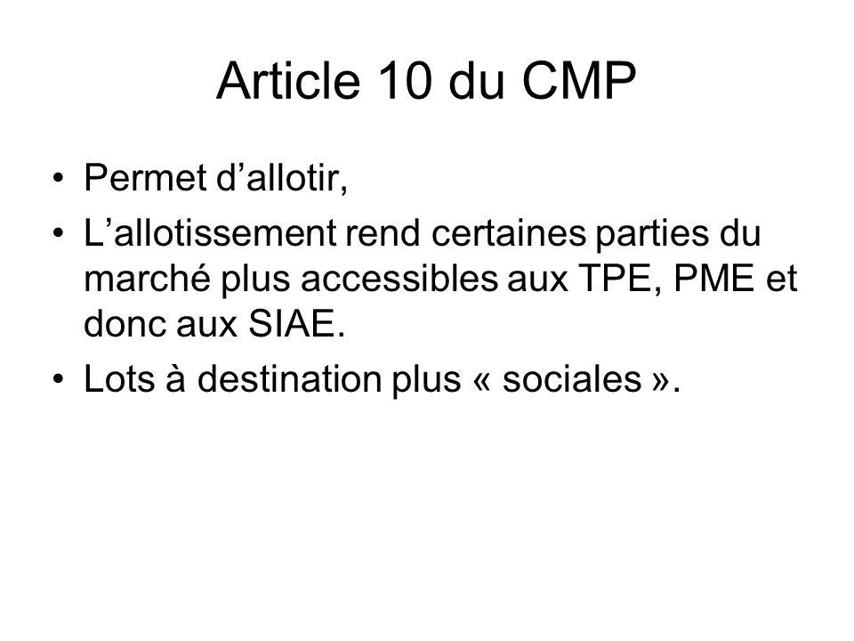 Article 10 du CMP Permet dallotir, Lallotissement rend certaines parties du marché plus accessibles aux TPE, PME et donc aux SIAE. Lots à destination