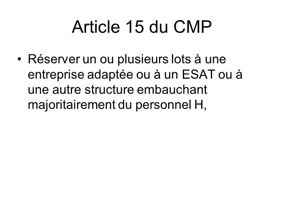 Article 15 du CMP Réserver un ou plusieurs lots à une entreprise adaptée ou à un ESAT ou à une autre structure embauchant majoritairement du personnel