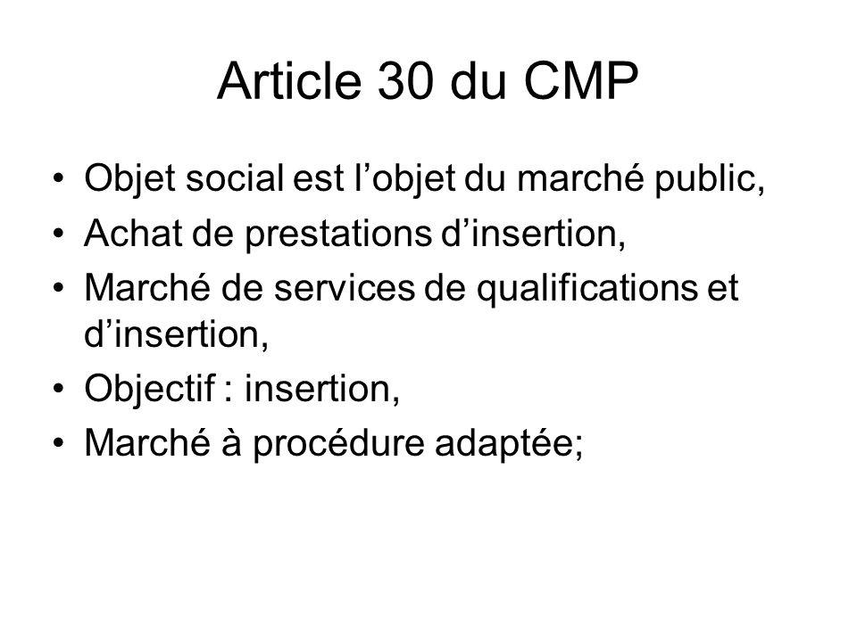 Article 53-1 du CMP Prise en compte de la performance de lentreprise en matière dinsertion professionnelle Possibilité de faire : art 14 + 53-1, * art 14 +30 Critères sociaux sont intégrés au mode sélection des offres.
