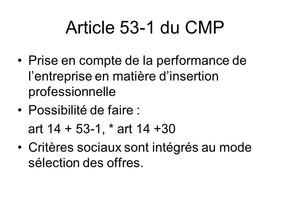 Article 53-1 du CMP Prise en compte de la performance de lentreprise en matière dinsertion professionnelle Possibilité de faire : art 14 + 53-1, * art