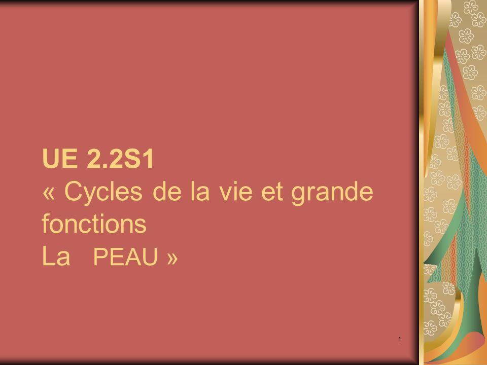 1 UE 2.2S1 « Cycles de la vie et grande fonctions La PEAU »
