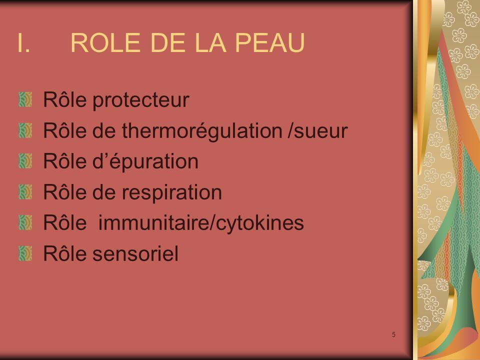 5 I.ROLE DE LA PEAU Rôle protecteur Rôle de thermorégulation /sueur Rôle dépuration Rôle de respiration Rôle immunitaire/cytokines Rôle sensoriel