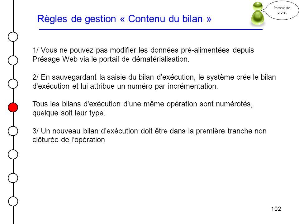 102 Règles de gestion « Contenu du bilan » Porteur de projet 1/ Vous ne pouvez pas modifier les données pré-alimentées depuis Présage Web via le porta