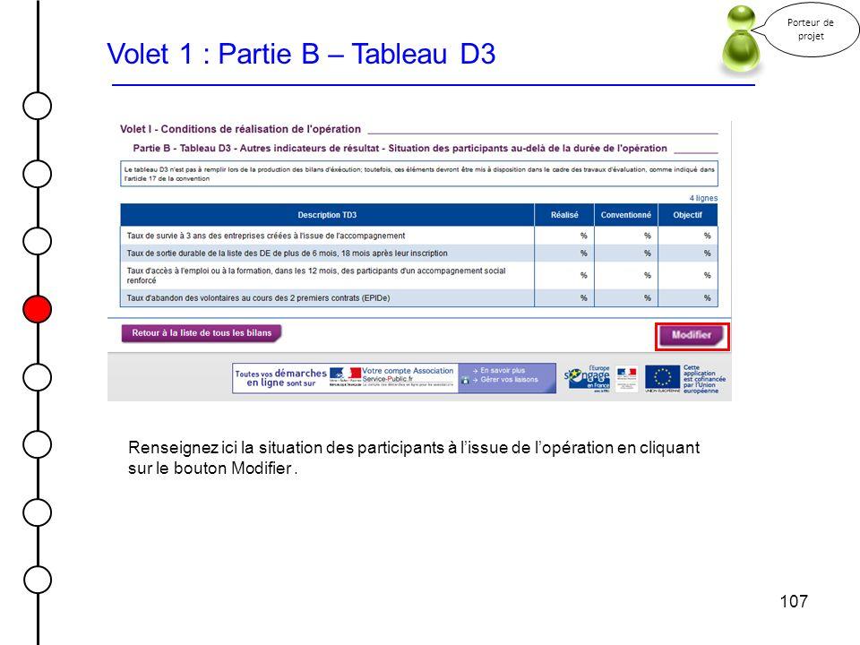 107 Porteur de projet Volet 1 : Partie B – Tableau D3 Renseignez ici la situation des participants à lissue de lopération en cliquant sur le bouton Mo