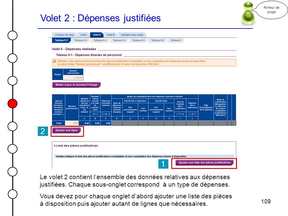 109 Volet 2 : Dépenses justifiées Porteur de projet Le volet 2 contient lensemble des données relatives aux dépenses justifiées. Chaque sous-onglet co
