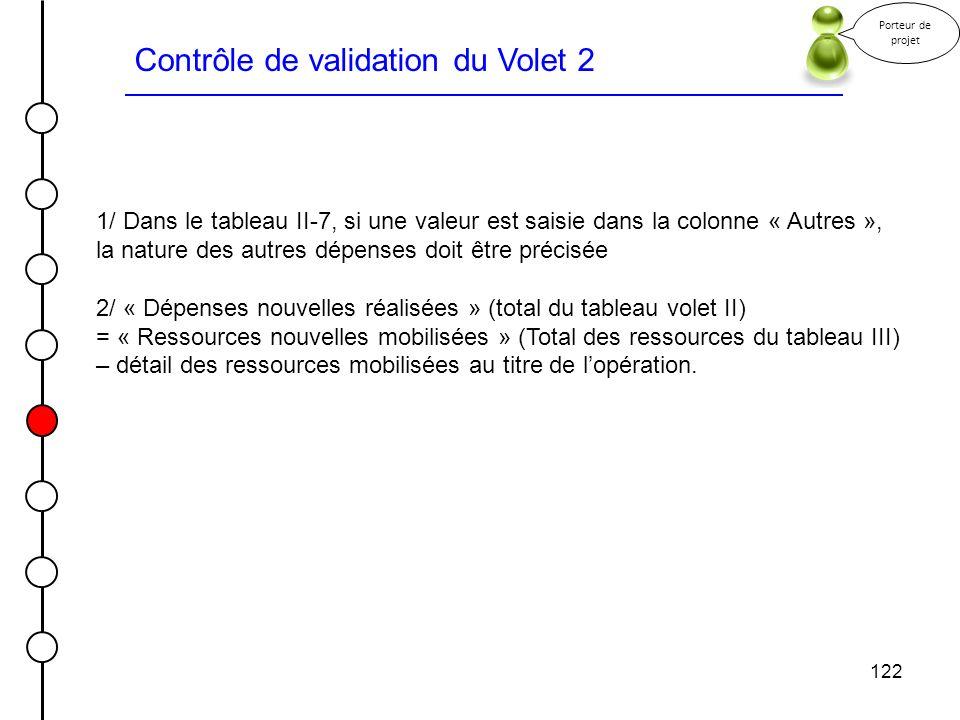 122 Contrôle de validation du Volet 2 Porteur de projet 1/ Dans le tableau II-7, si une valeur est saisie dans la colonne « Autres », la nature des au