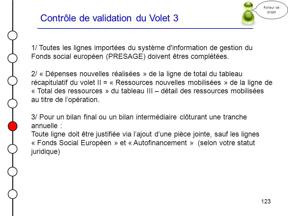 123 Contrôle de validation du Volet 3 Porteur de projet 1/ Toutes les lignes importées du système d'information de gestion du Fonds social européen (P
