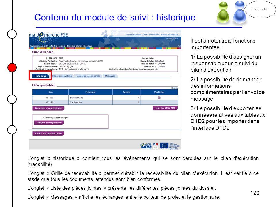 129 Contenu du module de suivi : historique Longlet « historique » contient tous les événements qui se sont déroulés sur le bilan dexécution (traçabil