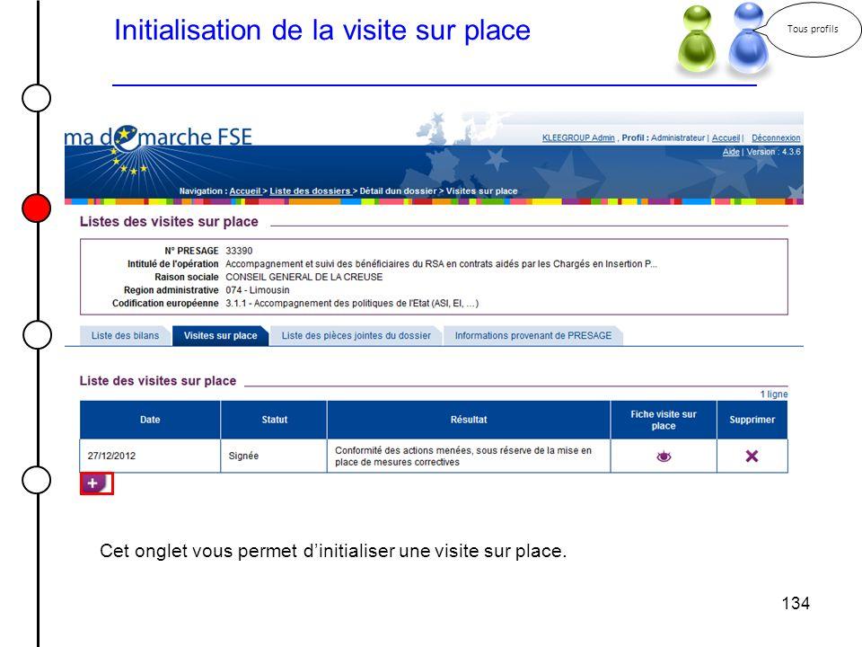 134 Initialisation de la visite sur place Tous profils Cet onglet vous permet dinitialiser une visite sur place.