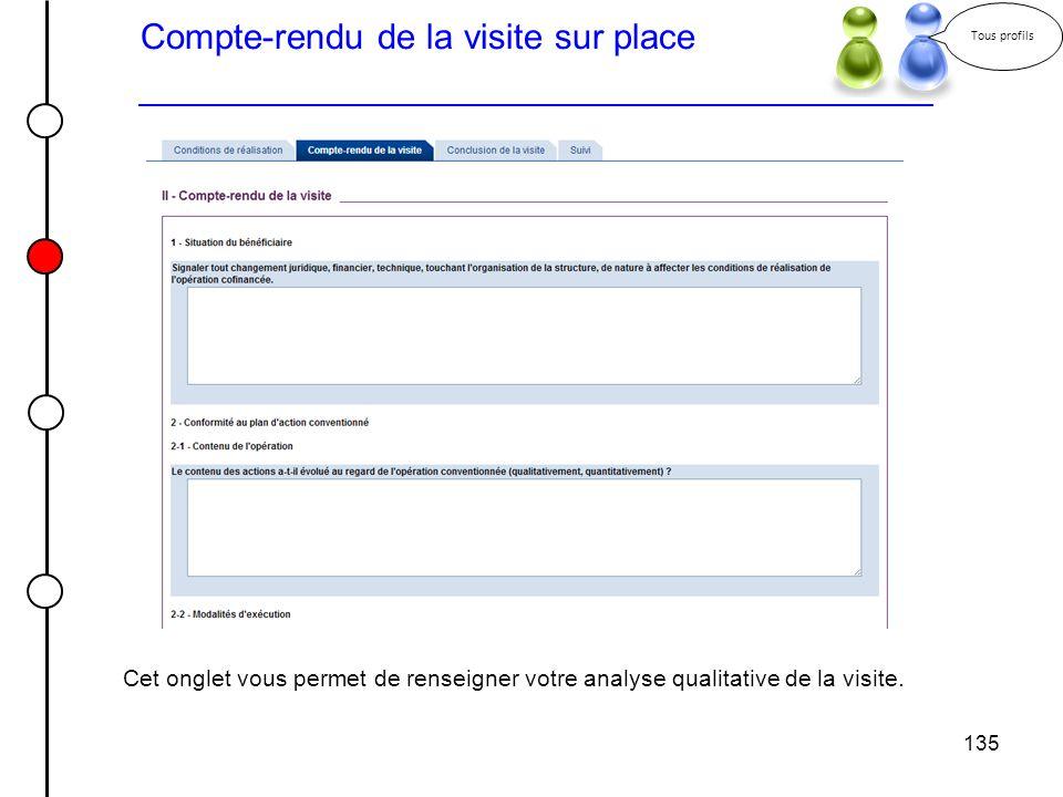 135 Compte-rendu de la visite sur place Tous profils Cet onglet vous permet de renseigner votre analyse qualitative de la visite.