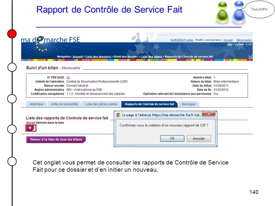 140 Rapport de Contrôle de Service Fait Tous profils Cet onglet vous permet de consulter les rapports de Contrôle de Service Fait pour ce dossier et d