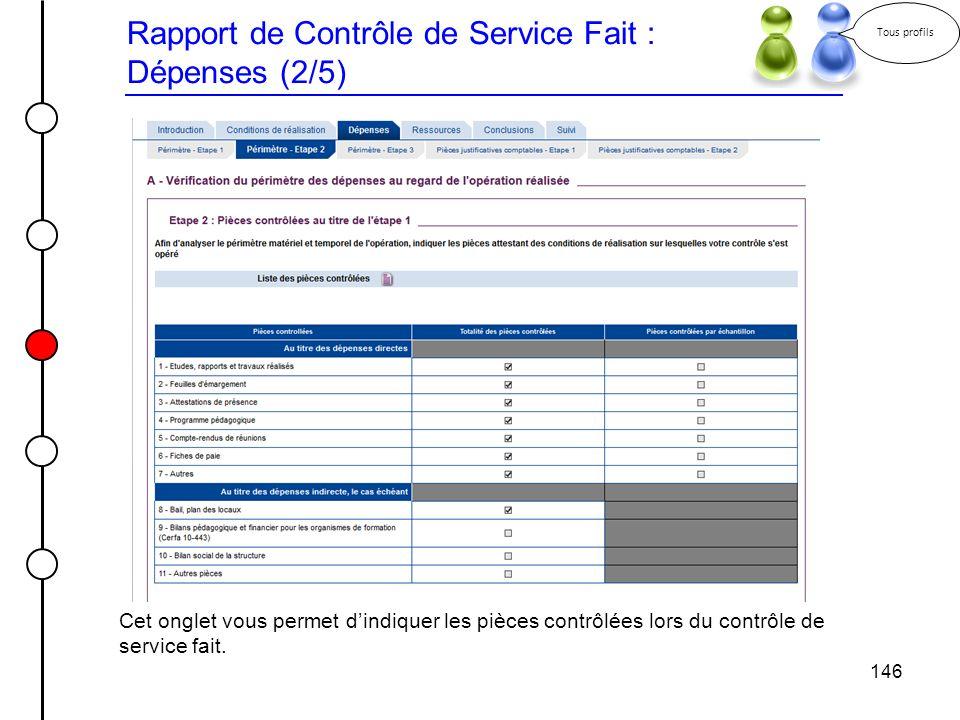 146 Rapport de Contrôle de Service Fait : Dépenses (2/5) Tous profils Cet onglet vous permet dindiquer les pièces contrôlées lors du contrôle de servi
