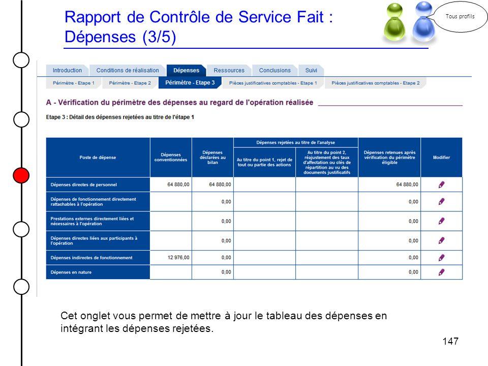 147 Rapport de Contrôle de Service Fait : Dépenses (3/5) Tous profils Cet onglet vous permet de mettre à jour le tableau des dépenses en intégrant les