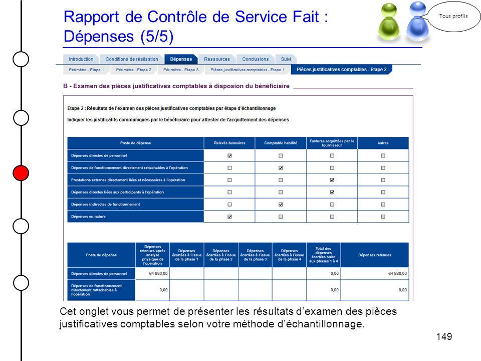 149 Rapport de Contrôle de Service Fait : Dépenses (5/5) Tous profils Cet onglet vous permet de présenter les résultats dexamen des pièces justificati