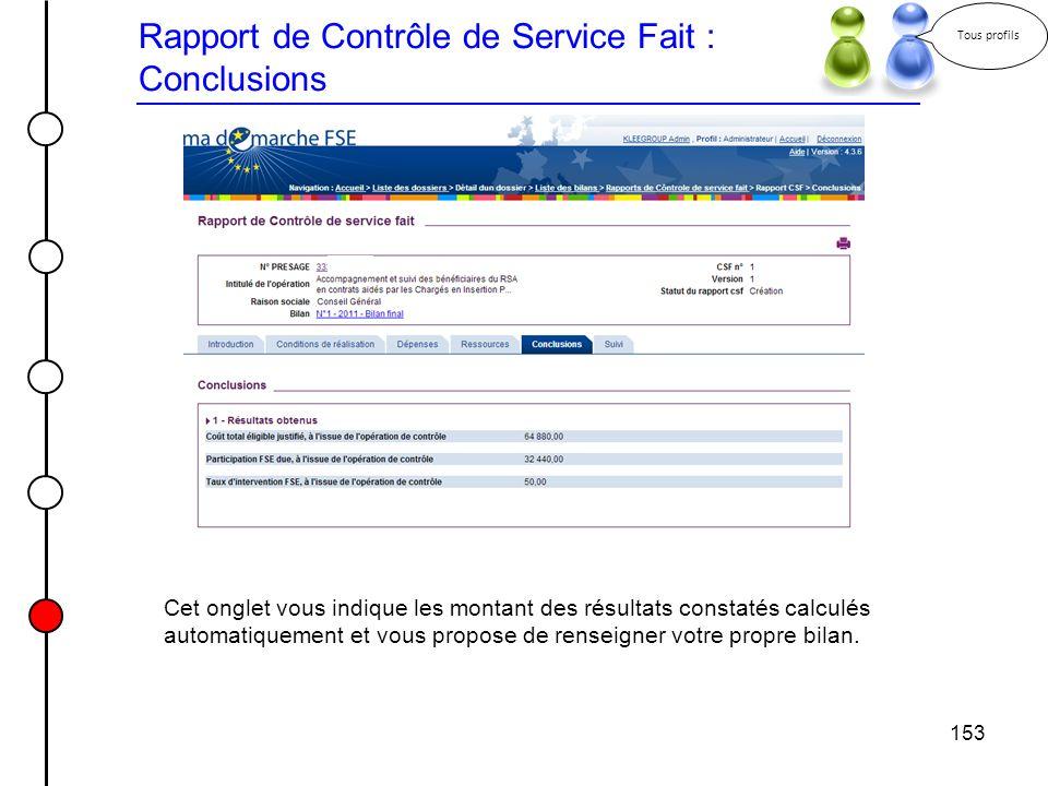 153 Rapport de Contrôle de Service Fait : Conclusions Tous profils Cet onglet vous indique les montant des résultats constatés calculés automatiquemen