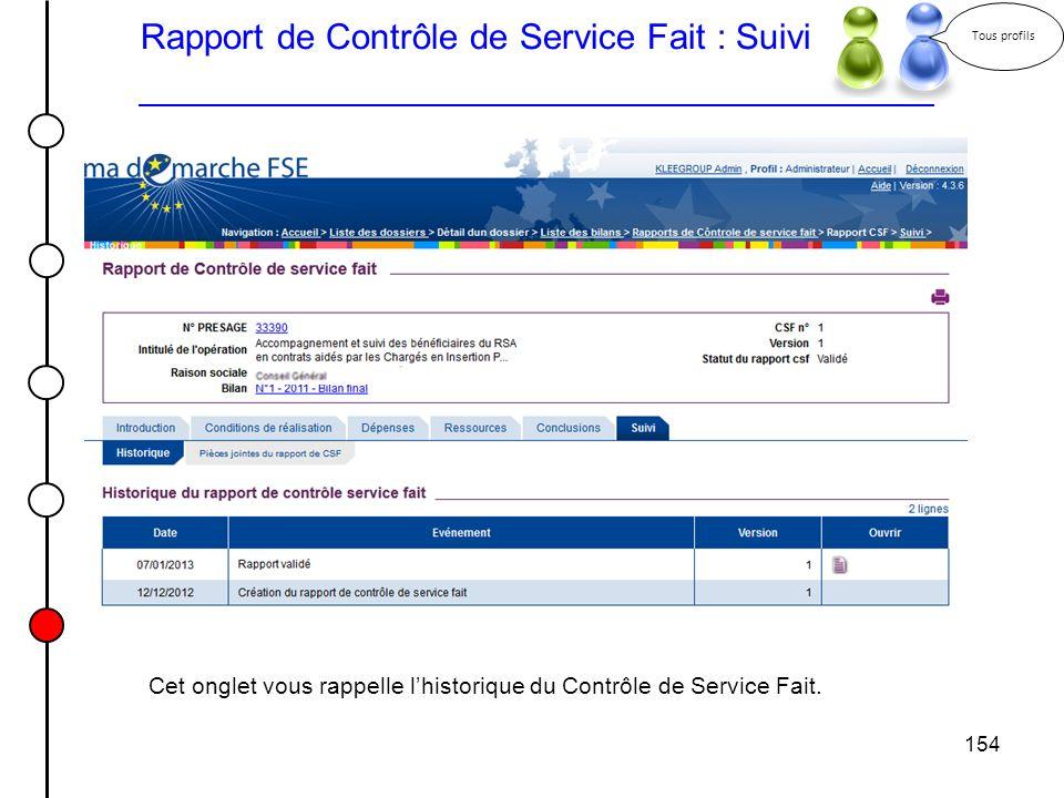 154 Rapport de Contrôle de Service Fait : Suivi Tous profils Cet onglet vous rappelle lhistorique du Contrôle de Service Fait.